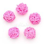 Шары из ротанга 3 см, светло-розовые