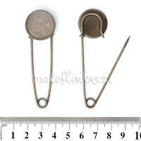 Основа для броши английская булавка с круглой основой, бронза, 2 шт.
