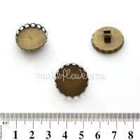 Основа для резинки зажимная с ажурной площадкой 2 см, ант. бронза, 3 шт.