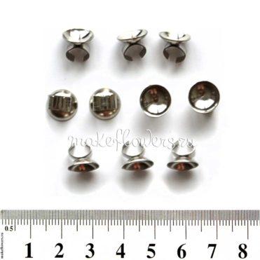 Основа для резинки зажимная 1 см, серебр., 10 шт.