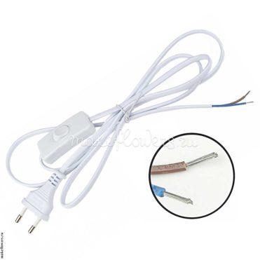 Шнур для светильников с выключателем, 1.7 м, белый
