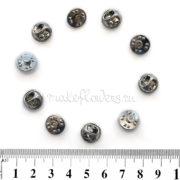Основа для броши/значка, шляпка 12 мм на гвоздике, серебр., 10 шт.