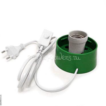 Основание с проводом под плафон для светильников из изолона, E27, зеленый