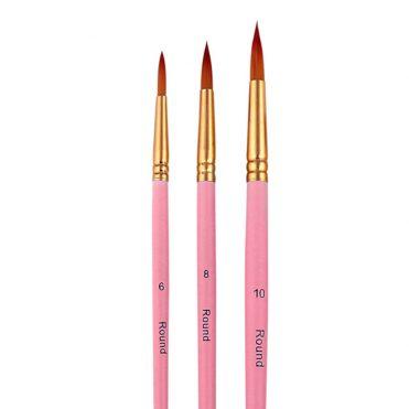 Набор круглых кистей c розовыми ручками, 3 шт.